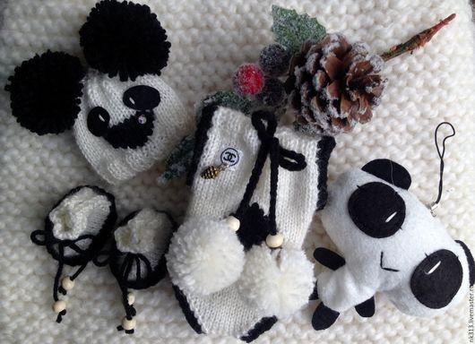 """Одежда для кукол ручной работы. Ярмарка Мастеров - ручная работа. Купить """"Панда"""" комплект для пупса. Handmade. Белый, боди, для пупса"""