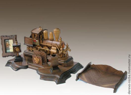 Письменные приборы ручной работы. Ярмарка Мастеров - ручная работа. Купить паровоз. Handmade. Паровоз, ольха