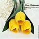 Интерьерные композиции ручной работы. Ярмарка Мастеров - ручная работа. Купить 3 желтых тюльпана. Handmade. 8 марта