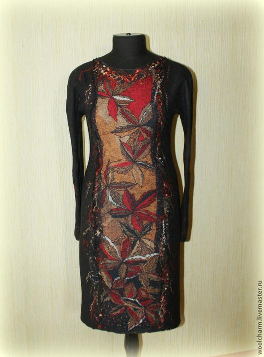 Платья ручной работы. Ярмарка Мастеров - ручная работа. Купить Платье валяное Японский клен. Handmade. Черный, красно-рыжий