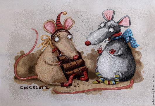 Шитье ручной работы. Ярмарка Мастеров - ручная работа. Купить Мышки-шоколадницы: гобеленовая заготовка без оверлока, 50-70 см. Handmade.