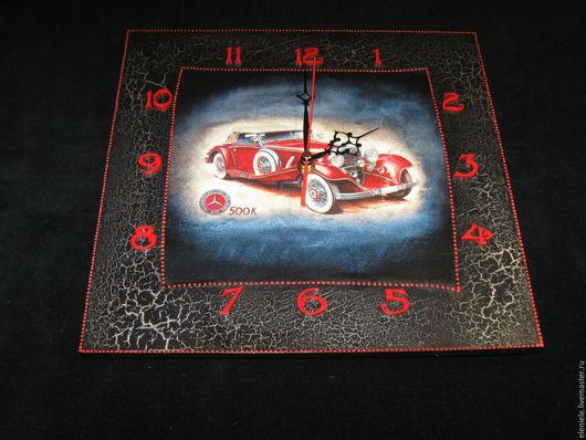 Часы для дома ручной работы. Ярмарка Мастеров - ручная работа. Купить Часы ретро-авто. Handmade. Ярко-красный, авто
