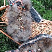 Аксессуары ручной работы. Ярмарка Мастеров - ручная работа Теплые вязаные варежки из собачьей шерсти. Handmade.