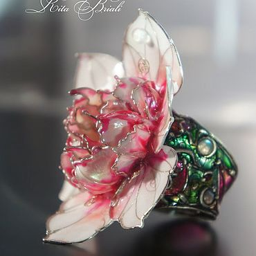 Decorations handmade. Livemaster - original item Collector`s silver ring water Lily stained Glass. Handmade.