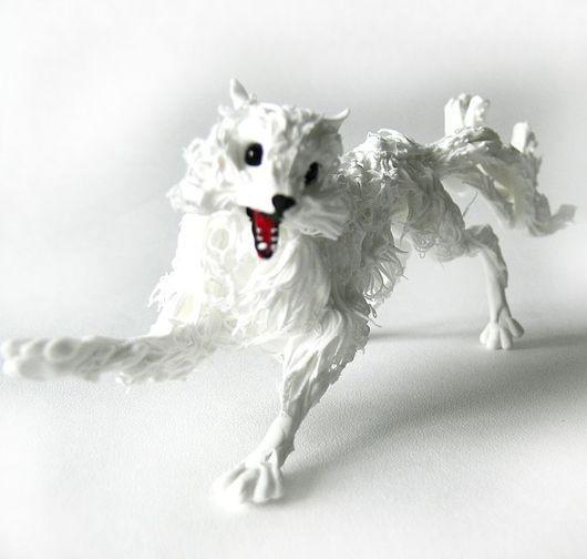 """Аниме ручной работы. Ярмарка Мастеров - ручная работа. Купить фигурка """"Девятихвостая белая лиса кицунэ"""". Handmade. Лиса игрушка"""