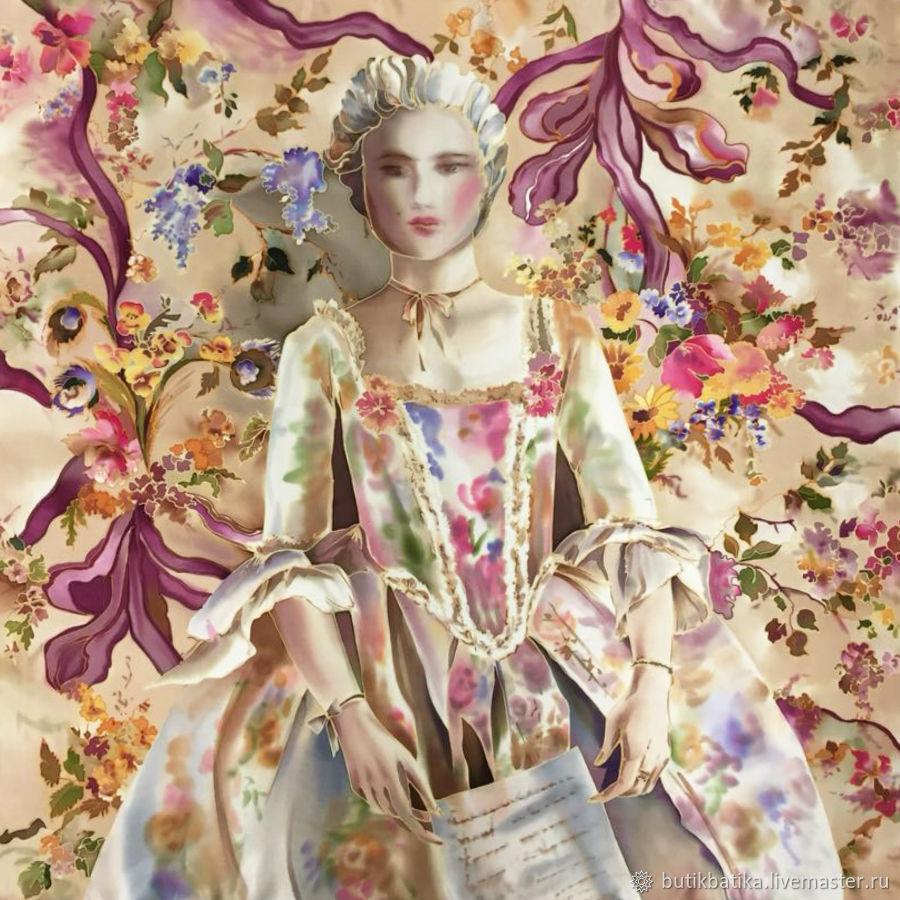 Шелковый платок батик Мария Антуанетта, Платки, Москва, Фото №1