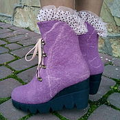 Обувь ручной работы. Ярмарка Мастеров - ручная работа Сапожки из шерсти на платформе Лиловые. Handmade.