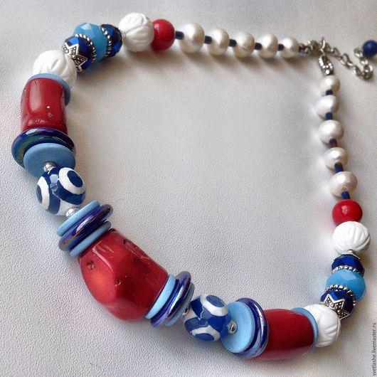 Бусы колье в морском стиле красные синие из коралла агат дзи жемчуга купить в подарок девушке женщине любимой подруге украшение на шею из натуральных камней стильное модный аксессуар.