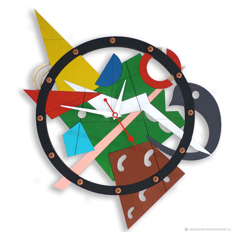 Часы для дома ручной работы. Ярмарка Мастеров - ручная работа. Купить Часы настенные Композиция #2. Handmade. Живопись, Малевич