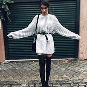 Одежда ручной работы. Ярмарка Мастеров - ручная работа Повседневное светло-серое свитер платье. Handmade.