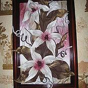 """Картины и панно ручной работы. Ярмарка Мастеров - ручная работа Картина из натуральной  кожи """"Лилии"""". Handmade."""