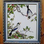 """Картины и панно ручной работы. Ярмарка Мастеров - ручная работа Картина вышивка крестом """"Птицы и вишня"""". Handmade."""