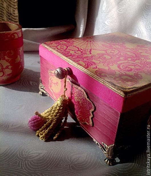 """Шкатулки ручной работы. Ярмарка Мастеров - ручная работа. Купить Набор """"Лиловый дуэт в золоте"""". Handmade. Шкатулка, набор, истрицкая"""
