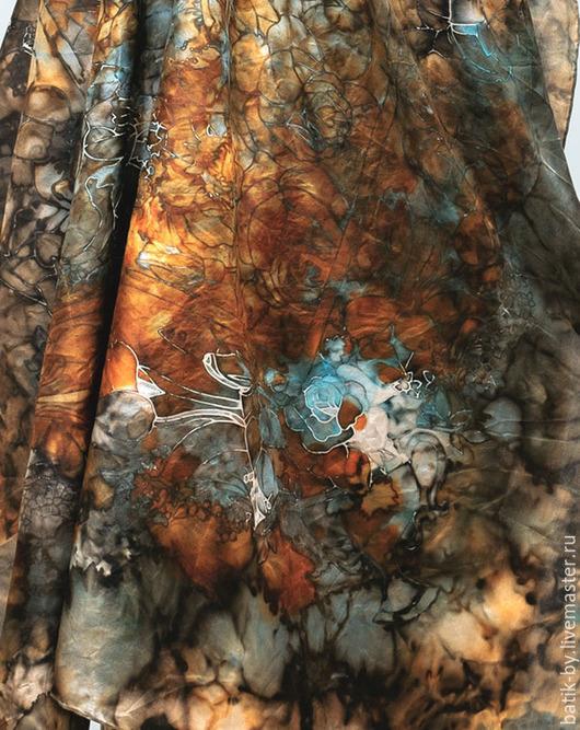 Шали, палантины ручной работы. Ярмарка Мастеров - ручная работа. Купить «Голубая Роза» платок батик шелк 100%. Handmade.