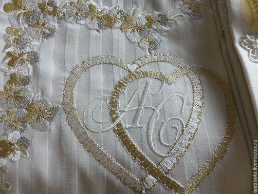 Текстиль, ковры ручной работы. Ярмарка Мастеров - ручная работа. Купить Комплект постельного белья с вышивкой. Handmade. Бежевый, подарок