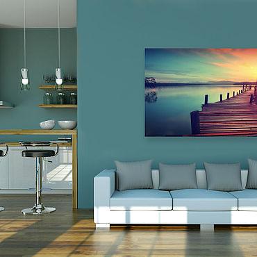 Картины и панно ручной работы. Ярмарка Мастеров - ручная работа Картина на холсте Закат на озере. Handmade.
