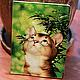 """Обложки ручной работы. Ярмарка Мастеров - ручная работа. Купить обложка """"Любопытный котёнок"""". Handmade. Кот, подарок, кожаная обложка"""