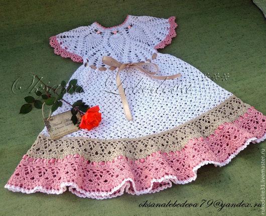 Одежда для мальчиков, ручной работы. Ярмарка Мастеров - ручная работа. Купить Платье для девочки летнее ажурное из хлопка крючком Роза Флора. Handmade.
