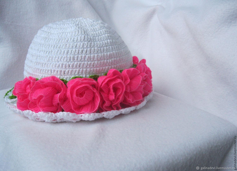 "ПАНАМА для девочки ""Neon roses"" вязаная летняя, Панамы, Москва,  Фото №1"