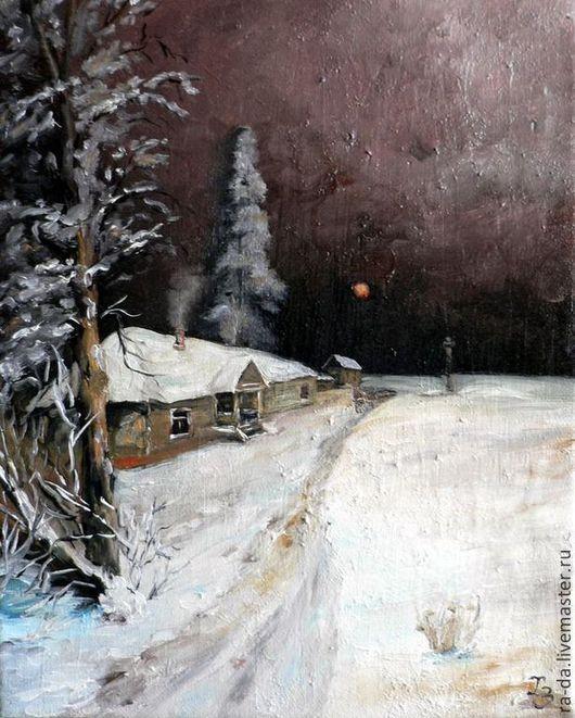 """Пейзаж ручной работы. Ярмарка Мастеров - ручная работа. Купить Картина """"Зимняя ночь"""" по мотивам Ю. Клевера. Handmade. Разноцветный"""