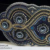 Аксессуары handmade. Livemaster - original item Dark blue wide elastic belt bead embroidery Swarovski. Handmade.