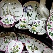 Посуда handmade. Livemaster - original item Porcelain painting tea Set Alpine herbs. Handmade.