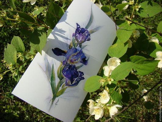 """Открытки на день рождения ручной работы. Ярмарка Мастеров - ручная работа. Купить Поздравительная открытка """" Ирисы"""" (3). Handmade."""