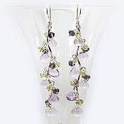 Украшения handmade. Livemaster - original item Earrings silver LAVENDER. Lavender Amethyst, Chrysolite. Handmade.