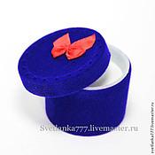 Материалы для творчества ручной работы. Ярмарка Мастеров - ручная работа Подарочная коробочка Синяя с красным бантиком, под кольцо, бархатная. Handmade.