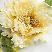 Цветы и флористика handmade. Livemaster - original item Silk flowers. Brooch-flower Peony