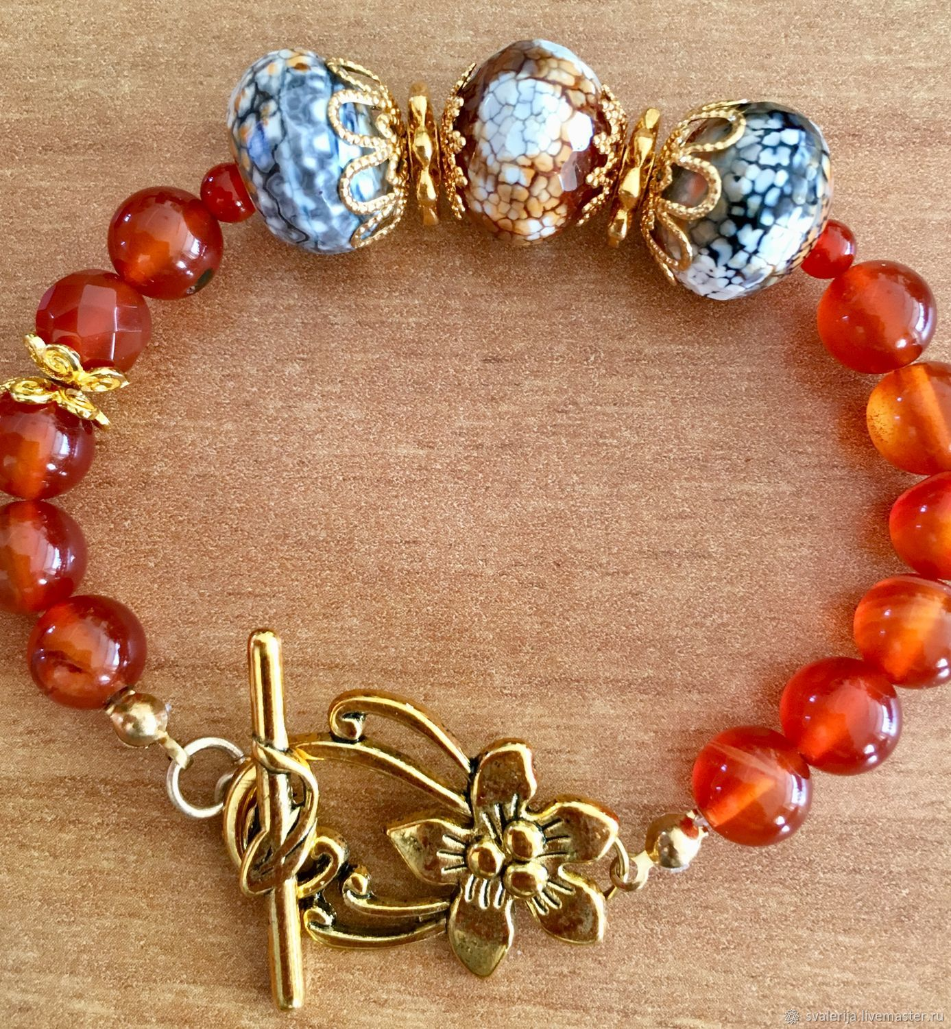 Bracelet of carnelian and agate, Bead bracelet, Riga,  Фото №1