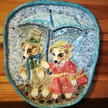 Для дома и интерьера ручной работы. Ярмарка Мастеров - ручная работа Панно Семья, собачки, старая открытка. Handmade.