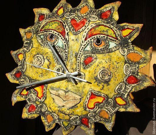 Часы для дома ручной работы. Ярмарка Мастеров - ручная работа. Купить Часы Зимнее Солнце. Handmade. Желтый, часы интерьерные