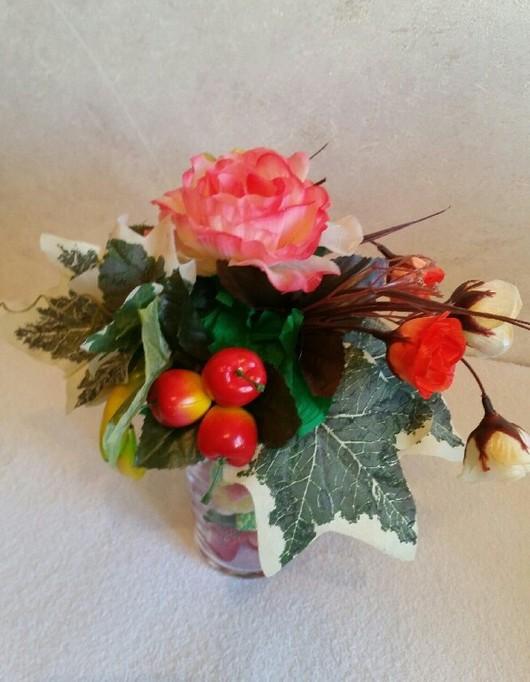 Персональные подарки ручной работы. Ярмарка Мастеров - ручная работа. Купить Сладкий букет цветочно- фруктовый.. Handmade. Разноцветный