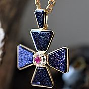 Украшения handmade. Livemaster - original item Cross with ruby and topaz. Handmade.