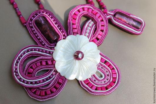 Колье, бусы ручной работы. Ярмарка Мастеров - ручная работа. Купить Сутажное колье ручной работы - Фиолетовый цветок. Handmade.