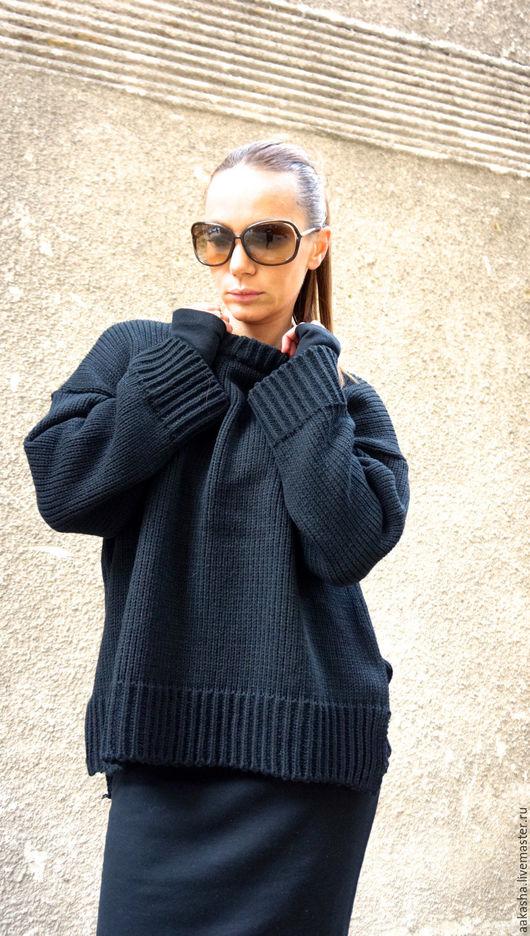 Вязаный свитер модный свитер крупной вязки черный свитер вязаная одежда