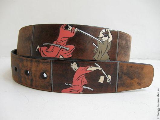 Пояса, ремни ручной работы. Ярмарка Мастеров - ручная работа. Купить САМУРАИ-КАРП ремень кожаный. Handmade. Япония, Самурай