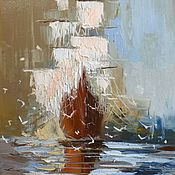 Картина маслом Корабль в море, 60х50см