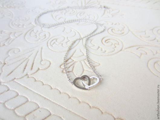 Кулон серебряный от Марии Гербст Сердца двух. Кулон из серебра на цепочке Сердца двух. Серебряный кулон Сердца двух.
