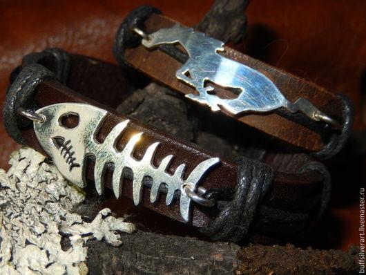 Браслеты ручной работы. Ярмарка Мастеров - ручная работа. Купить Браслет кожаный с серебряной вставкой. Handmade. Коричневый, бохо-стиль