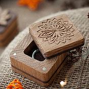 Упаковка ручной работы. Ярмарка Мастеров - ручная работа Коробочка для кольца деревянная с резьбой. Handmade.