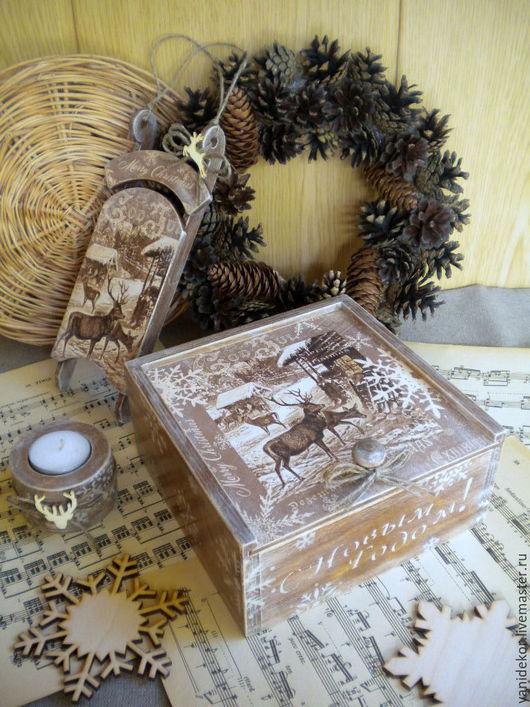 Короб деревянный декупаж.Короб для чая.Короб для сладостей.Шкатулка для чая.Подсвечник новогодний.Санки новогодние.Подарок на Новый год