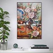 """Красивая Картина маслом """"Натюрморт с розами"""" 40х60 (цветы,розы)"""