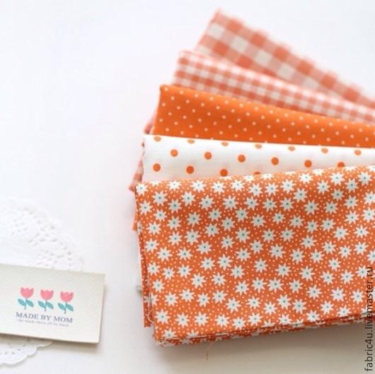 Шитье ручной работы. Ярмарка Мастеров - ручная работа. Купить Набор тканей 5 отрезов. Оранжевые тона. Handmade. Рыжий