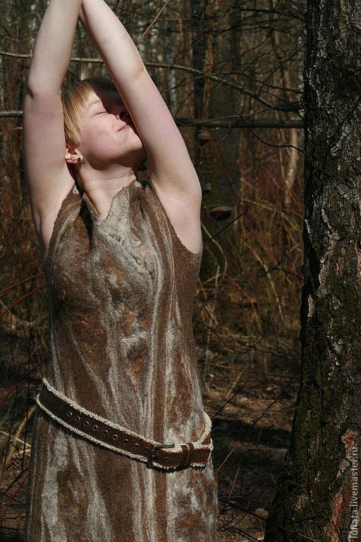 """Платья ручной работы. Ярмарка Мастеров - ручная работа. Купить Валяное платье """"City Jungle"""". Handmade. Коричневый, дизайнерская одежда"""