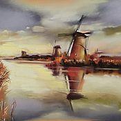 Картины и панно handmade. Livemaster - original item Pastel painting sunset Mill (yellow brick Holland). Handmade.