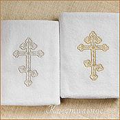 Работы для детей, ручной работы. Ярмарка Мастеров - ручная работа Крестильное полотенце с восьмиконечным крестом. Handmade.