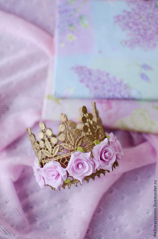 Диадемы, обручи ручной работы. Ярмарка Мастеров - ручная работа. Купить Корона для маленькой принцессы (золотая). Handmade. Корона