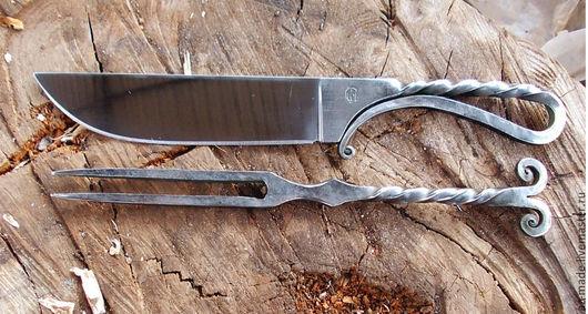 Оружие ручной работы. Ярмарка Мастеров - ручная работа. Купить Набор нож - вилка. Handmade. Нож, подарок охотнику
